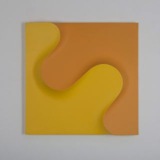 Raumflächen 68 ge.o., 72 x 72 cm, yellow and ocher polyeter, 1968